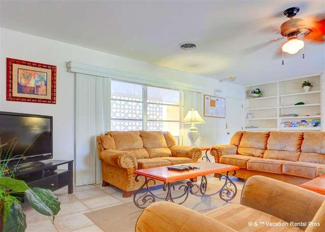 Enjoy our living room with comfy furniture and new HDTV - Harbor Paradise Home, Sleeps 14, Heated Pool, Wifi, HDTV - Venice - rentals