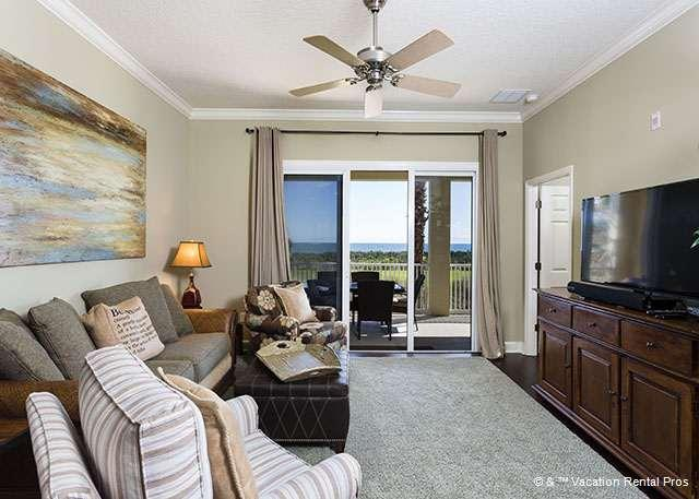"""Relax in our plush living room with HDTV and ocean views - 623 Cinnamon Beach, Ocean Front, 50"""" LED HDTV, Blue Ray, Wifi - Palm Coast - rentals"""