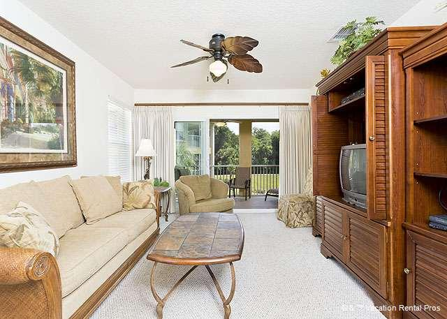Our living room features modern furniture - Canopy Walk 1121, Gated, End Unit, 3 bedrooms,wifi, pool, spa - Palm Coast - rentals