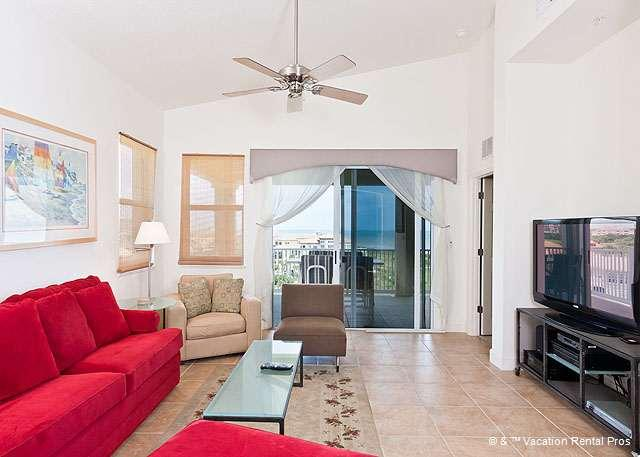 Sink into luxury in our stylish living room - 361 Cinnamon Beach Penthouse Condo 6th Floor, HDTV, Golf & Ocean - Palm Coast - rentals