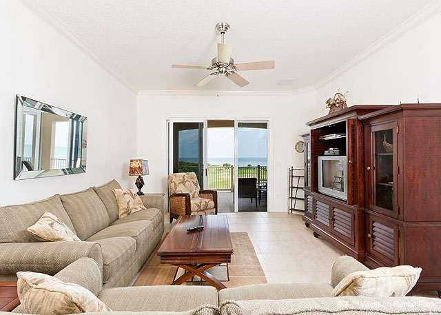 Our beautiful living room welcomes you - 442 Cinnamon Beach, 4th Floor, Elevator, Sweeping Ocean Views - Palm Coast - rentals