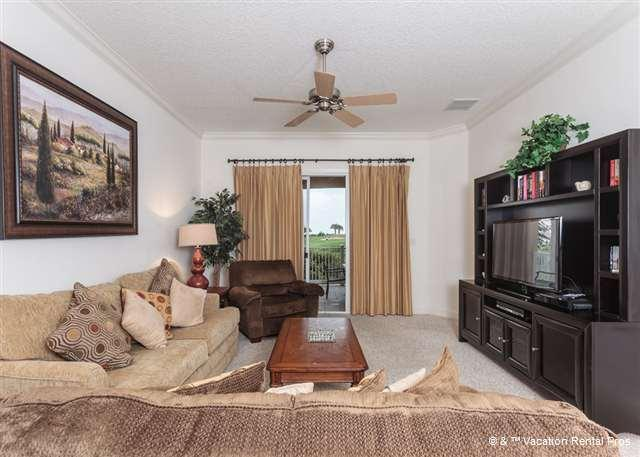 The living room is a great place to group together for fun! - 422 Cinnamon Beach, 2nd Floor, Best Building, Golf & Ocean views - Palm Coast - rentals