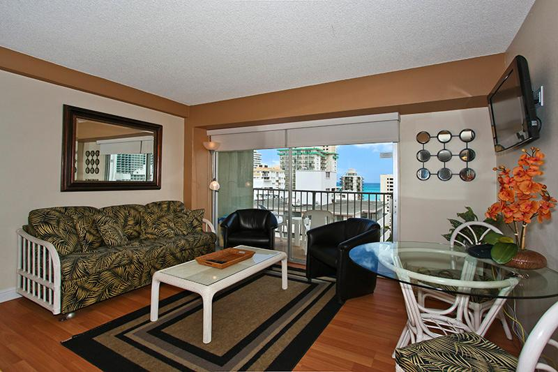 Waikiki Park Heights #1206 - One-bedroom with ocean view and central AC; 5 min. walk to beach. Sleeps 4. - Image 1 - Waikiki - rentals