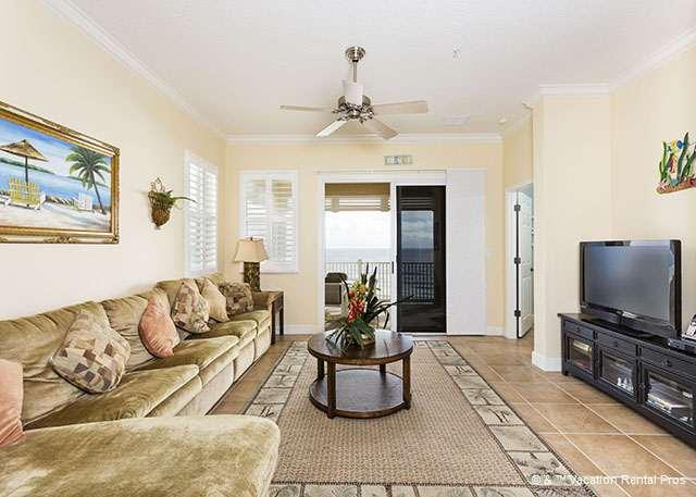 Our comfy, spacious living room has ocean views! - 651 Cinnamon Beach 5th Floor, Beach Front, Luxury End Unit, HDTV - Palm Coast - rentals