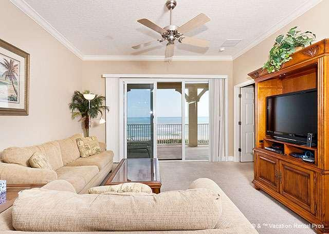 Sit for a moment in the airy living room - 843 Cinnamon Beach, beach front, 4th floor, HDTV, Upgraded, Wifi - Palm Coast - rentals