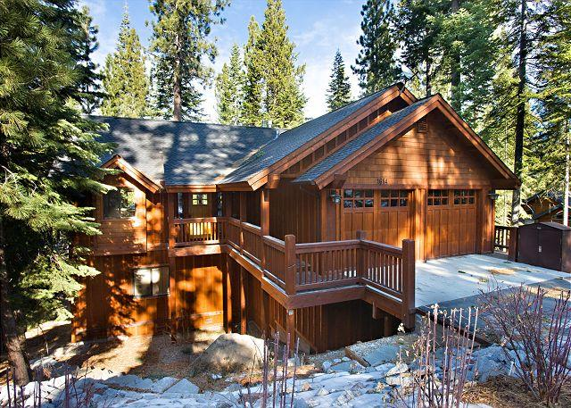 Plumas Winter Exterior - Elegant mountain home- jacuzzi, pool table, media room, views, internet - South Lake Tahoe - rentals