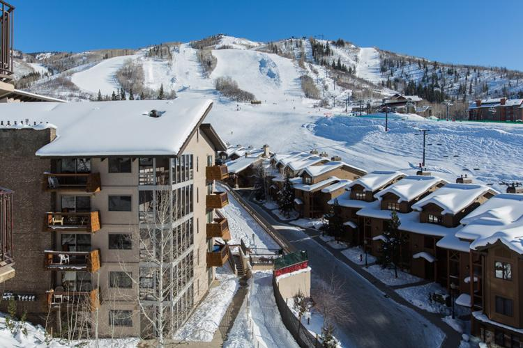 View of ski slopes from balcony - Bronze Tree 506:  Ski-in.  Ski Slope Views. - Steamboat Springs - rentals