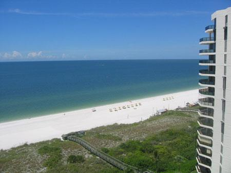 View from porch looking North - Sandcastle - SCI1206 - South-End Beachfront Condo! - Marco Island - rentals