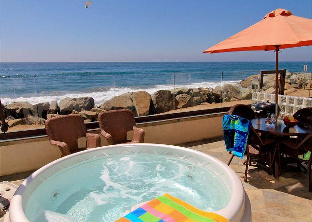 Oceanfront patio with private spa - Beachfront Vacation Rental on the Sand P518-2 - Oceanside - rentals