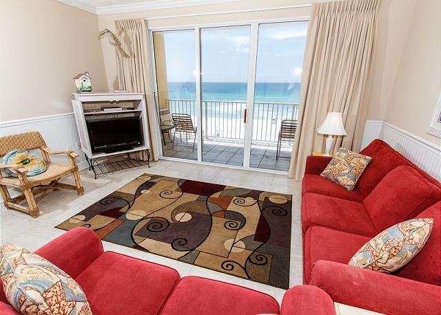 Living Room - GD 505:Lovely beachfront condo-pool,WiFi,beach walkover,BBQ, FREE BCH SVC - Fort Walton Beach - rentals
