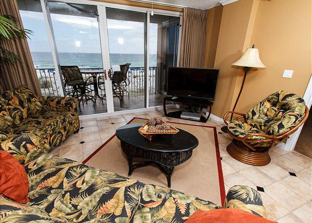Living Room - IP 309: Colorful beach front condo- balcony,heated pool, WiFi,free beach svc - Fort Walton Beach - rentals