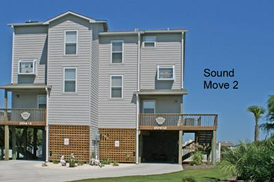 Street side view, right side of duplex - 'Sound Move II - North Topsail Beach - rentals