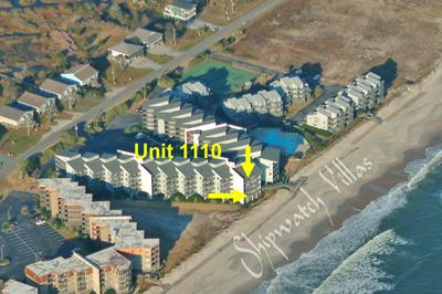 Aerial photo Shipwatch Villas showing Unit 1110 - Shipwatch 1110 - Point Unit - North Topsail Beach - rentals