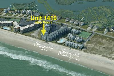 Aerial photo of Shipwatch showing location of 1410 - Shipwatch 1410 - Point Unit - North Topsail Beach - rentals