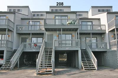 View of street side of unit - Shipwatch Townhomes II 208 - North Topsail Beach - rentals