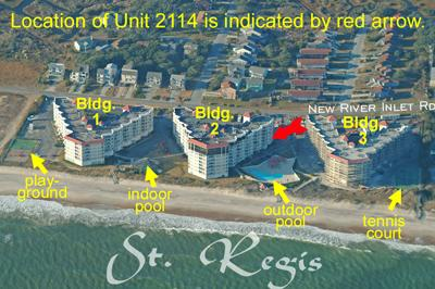 Aerial photo of St. Regis showing Unit 2114  - St. Regis 2114 - North Topsail Beach - rentals
