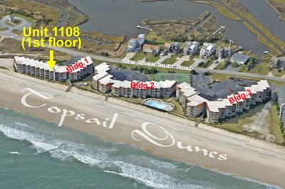 Aerial photo showing location of Unit 1108 - Topsail Dunes 1108 - North Topsail Beach - rentals