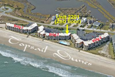 Aerial photo showing Topsail Dunes showing 2201 - Topsail Dunes 2201 - North Topsail Beach - rentals