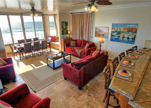 Living room, Beachfront Only Vacation Rentals - Dramatic and Luxurious Oceanfront Home P528-X - Oceanside - rentals