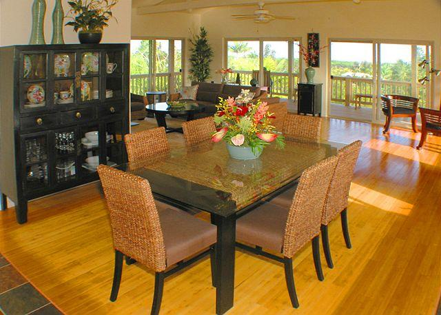 Maluhia Hale has gorgeous designer furnishings with lots of windows and open space. The formal dining area offers seating for six as well as high-quality tropical place settings that will have you dining in style! - Setup Your Big Island Base Camp at Maluhia Hale - Keaau - rentals
