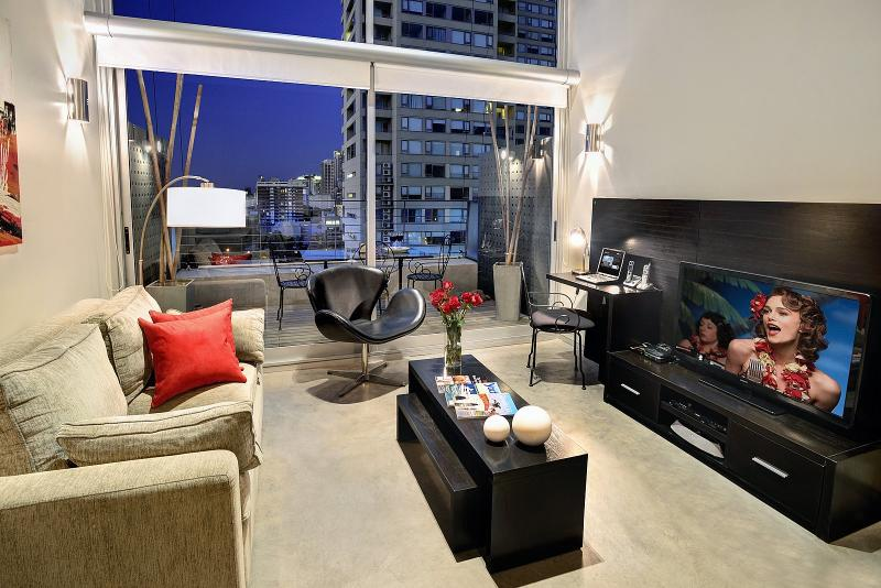 46' LCD TV, DVD Player, Apple TV, 16 Foot floor to ceiling windows with amazing view. Private Patio! - PH1 - Ultra Luxury 1 Bedroom LOFT with 1.5 Bath - Buenos Aires - rentals