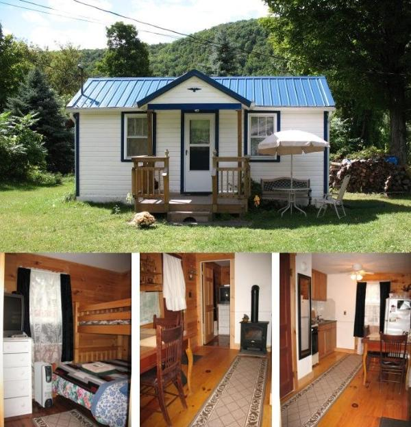Preview (outside and inside view) - Catskill Bungalow, Cozy Getaway Cabin for up to 3 - Windham - rentals