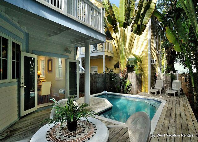 Private Patio and Heated Pool Complete With Loungers and View Into Home - A Key Escape - Nightly - Key West - rentals