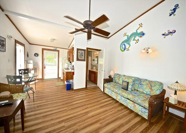 Inside, You Will Find This Spacious Living AreaComplete With a Ceiling Fan and Tropical Decor - Jasmine Suite - Nightly - Key West - rentals