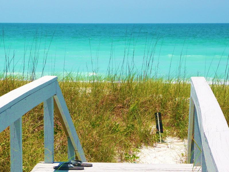 Dune walkway to warm azure blue gulf waters. Swim, snorkel, fish, or just float. - Gulf Beach Front & View, 2 Pools Spa 8 Tennis Crts - Longboat Key - rentals