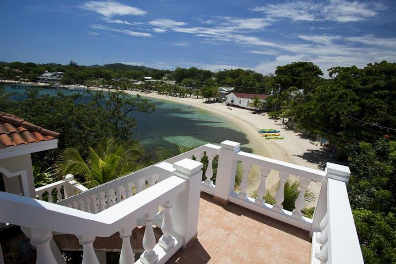 View of Half Moon Bay Beach from Back Balcony - Beachfront Villa with Pool in Heart of West End - Roatan - rentals