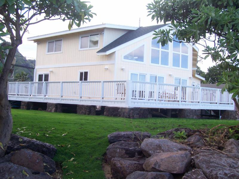 Exterior view of Nani Kai Hale from beach - Nani Kai Hale Beachfront 3bd/3ba - North Shore - rentals