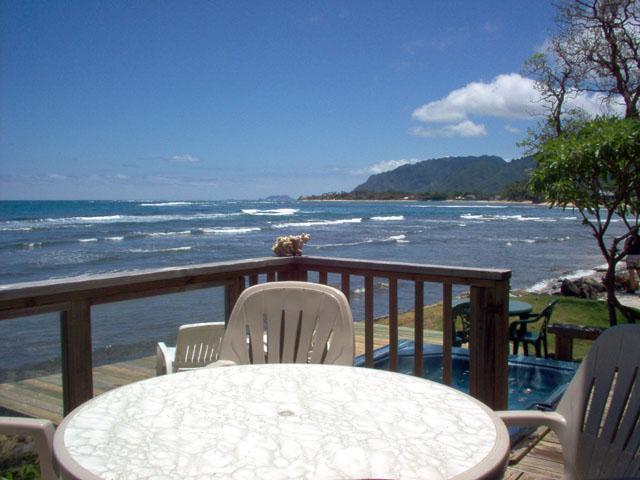 Oceanfront deck with sweeping views. - Hale Alii Beachfront 2bd/2ba House - Hauula - rentals
