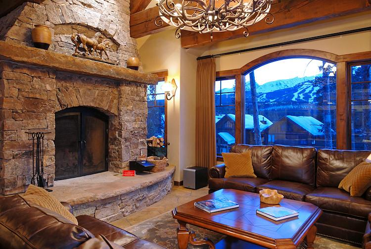 Wood Burning Fireplace at in Great Room - Rustic Timber Lodge - Breckenridge - rentals