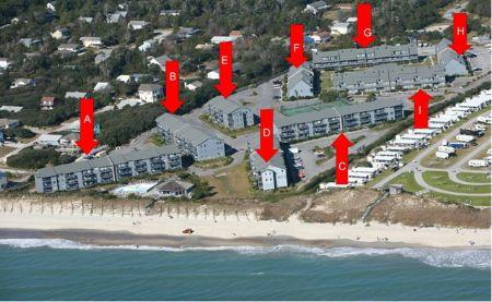 Aerial View of Building Location PB - Pebble Beach A306- SUN 3BR - Emerald Isle - rentals