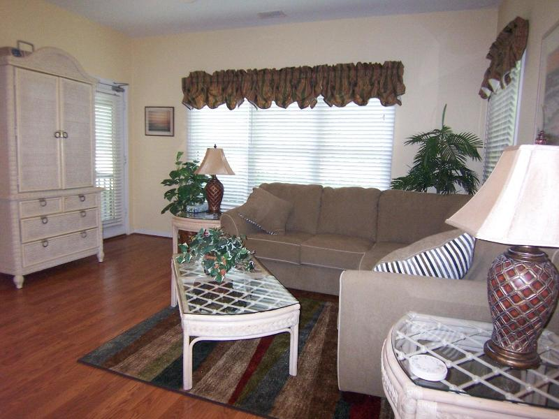 Living room with large TV and sectional sofa - Sea Trail Sunset Beach 2 BR 2 BA-beach & golf - Sunset Beach - rentals