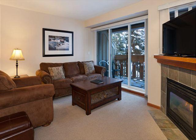 Living Room with Flatscreen TV Above Fireplace - Stoney Creek Sunpath #4 | Steps from Village Stroll and the Lifts, Hot Tub - Whistler - rentals