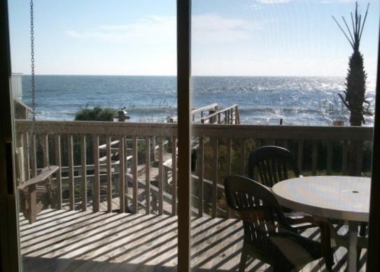 View from the sofa! - Oceanfront Value, Indoor pool, Hot tub, Free Wifi! - Kure Beach - rentals