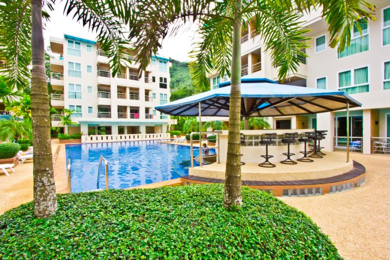 Outside by pool - Stunning 2 bedroom Apartment in Quiet Area - Patong - rentals