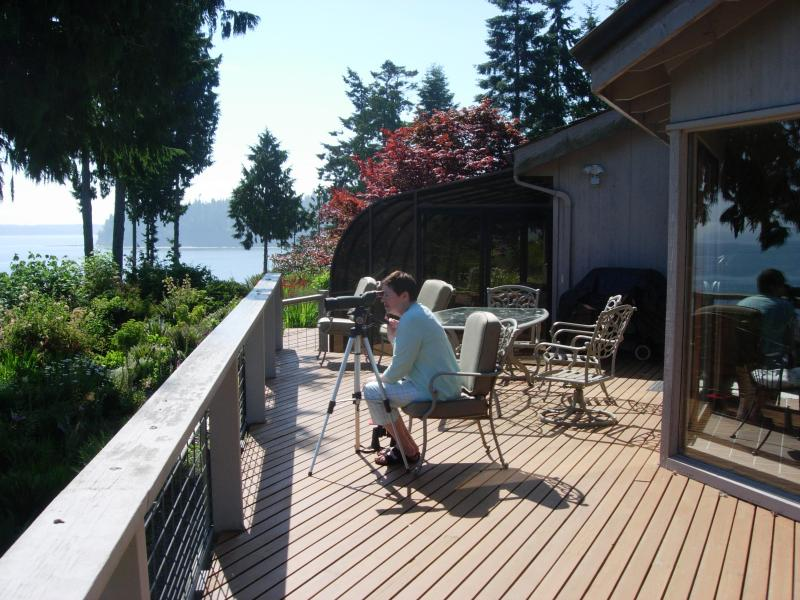 Guest checking for seals on nearby rocks - Highbank Waterfront Home with Magnificent Views - Port Ludlow - rentals