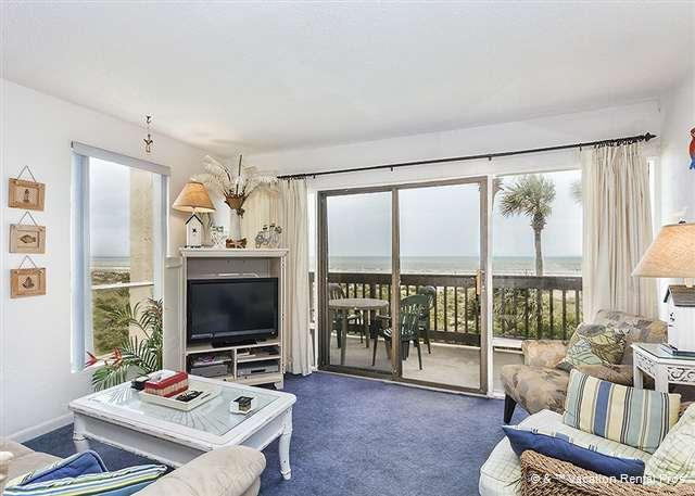 Step onto your private patio and breathe in thefresh sea air! - Island House A 211 Beach Front Rental, HDTV, Wifi Crescent Beach - Saint Augustine - rentals