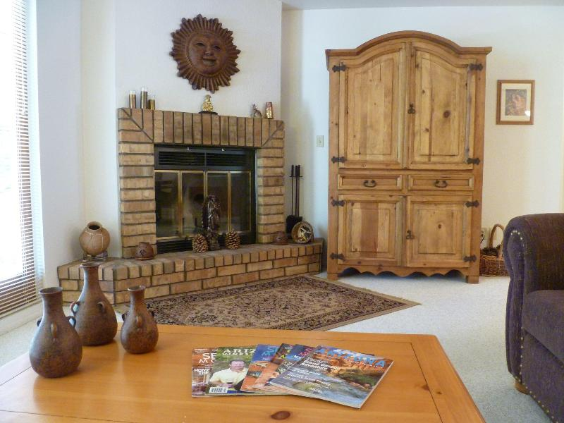 B - Living Room Fireplace & Armoire - Bella Diosa Vacation Home - Sedona - rentals