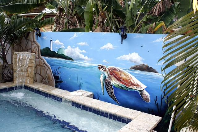 Dip-in pool with cascading waterfall and painted mural back-drop. - Beautiful Modern Townhouse by the beach! - Rincon - rentals