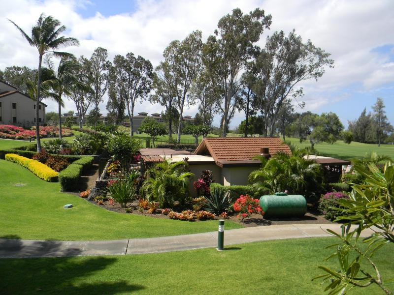 View of pool area from Lanai - 9th Fairway, Sunset, Garden and Ocean Views - Waikoloa - rentals