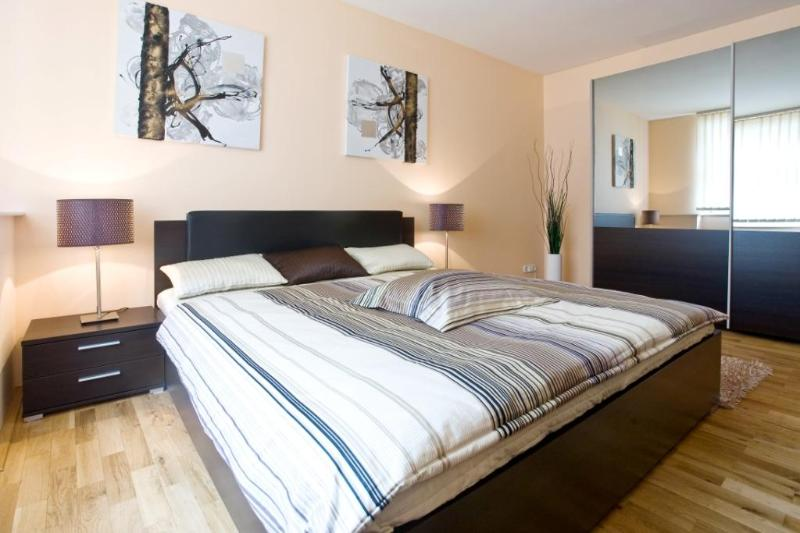 Bedroom with a double bed - De Luxe Two Bedroom Apartment in Prague Centre - Prague - rentals