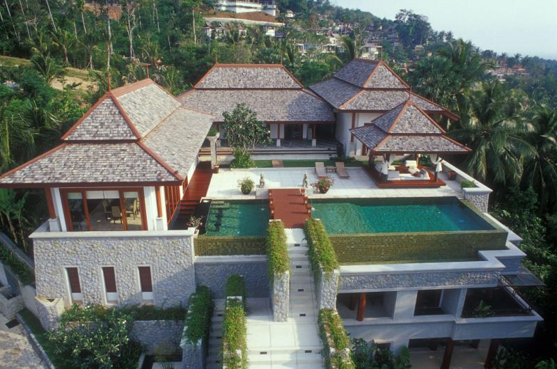 Aerial view of the villa - Stunning 7 bedroom villa with pool, chef, transport - Surin Beach - rentals