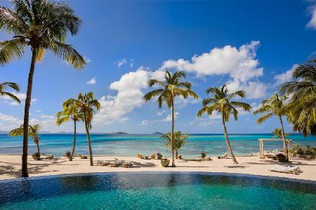 Secluded beachfront enclave Aquamare Villa 2 with tropical grounds & heated pool - Image 1 - Mahoe Bay - rentals