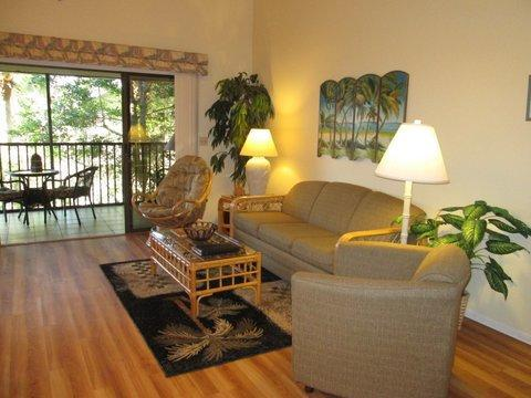 Living Room with Cathedral Ceiling - Vacation Condo At The Best Address On The Beach! - Saint Augustine - rentals