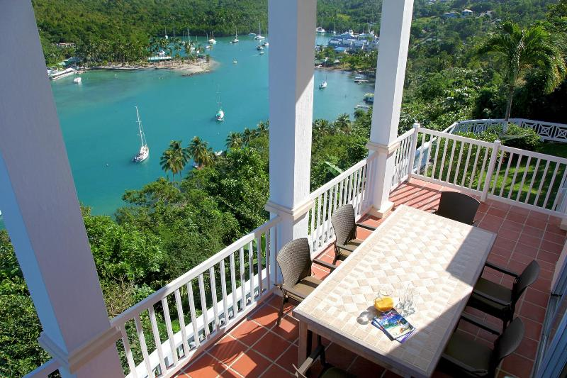 A tall, towering balcony overlooking it all - The Great House overlooking the entire Marigot Bay - Marigot Bay - rentals