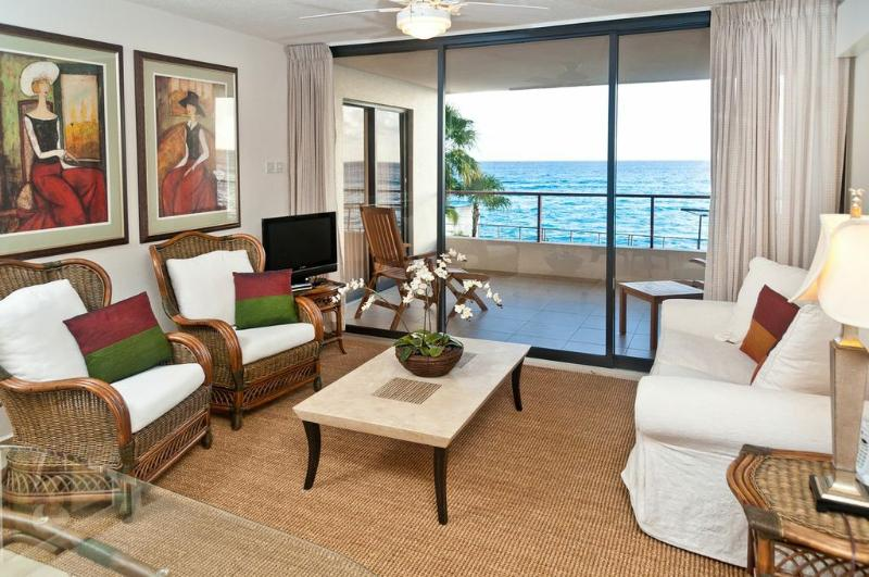 Living room with gorgeous sea view - Barbados St Lawrence Gap Condo on the Beach - Saint Lawrence Gap - rentals