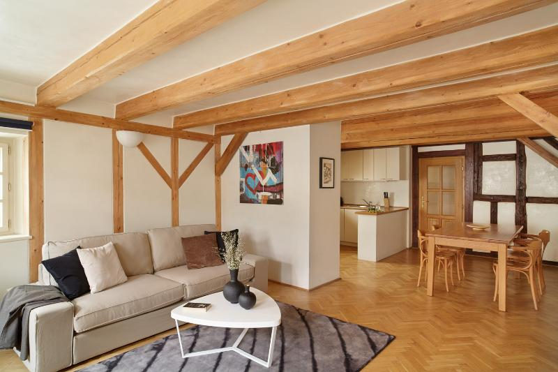 Living room with kitchen - Old Town Square 2-level loft - Prague - rentals
